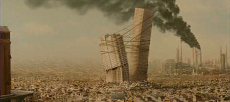 "In Mike Judge's ""Idiocracy,"" humans resort to building on top of vast piles of garbage."