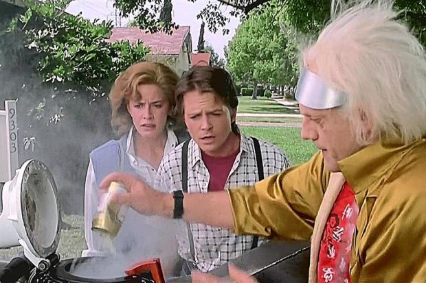"In Robert Zemeckis' ""Back to the Future,"" Doc can toss garbage straight into the engine to power his car."