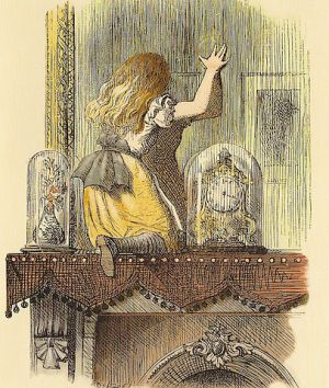 Alice climbs through the looking glass. (Image via Wikimedia Commons.)