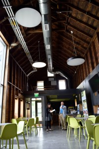 A dairy barn is converted to a coffee shop to encourage student and community mingling